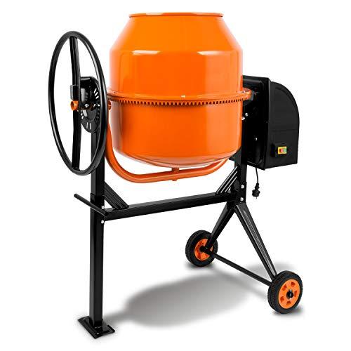 EBERTH 140 L Betonmischer (550 Watt, 230 Volt, integriertes Rührwerk, Zahnkranz aus Stahl, Handrad, 2 Räder, Fußplatte, robuster Motor, stabiles Stahlgestell) orange-schwarz