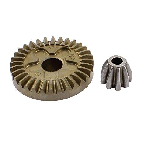 sourcingmap® La Pieza De Repuesto Metal Ángulo Eléctrico Amoladora Eespiral Cónico De Piñón Engranaje Set Gris