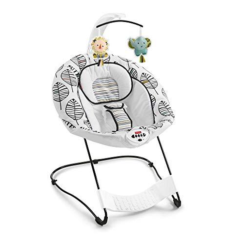 Fisher-Price Hamaca mecedora de lujo con pedal de pie y sonidos, motivo hojas caídas, regalo para bebés hasta 9 kg (Mattel GNV72)