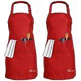 2 Packungen Schürze, Einstellbare Latzschürze mit 2 Taschen Wasserdicht Kochen Küchenchef...