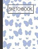 Blues Butterflies Sketchbook: 200 Page Sketchbook: Artist Edition (8.5x11)