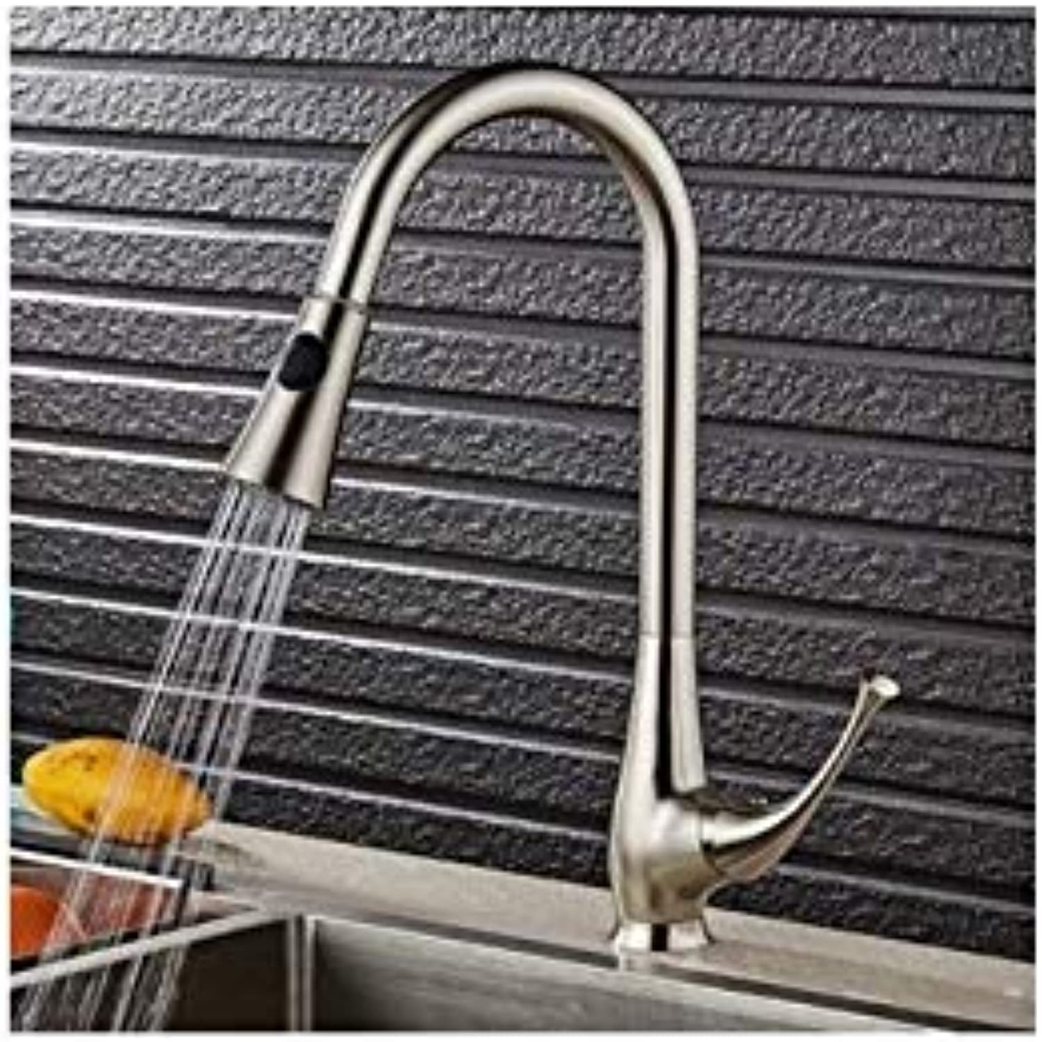 Pull-Out Kitchen Faucet Hot and Cold Copper redary Washing Vegetable Basin Single Hole Telescopic Water Trough Drawing Tap