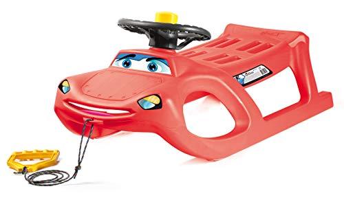 Prosperplast Schlitten Zigi Zet Steering (stabiles Kunststoff, Metallkufen und Lenkrad; 913x449x362mm, rot) ISZGS-1788C