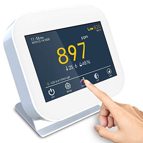 Rilevatore di CO2,Professionale Misurazione CO2 rilevatore di anidride carbonica per temperatura e umidità relativa, monitor della qualità dell aria, sensore per condotto NDIR, registratore di dati