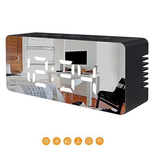 Juboos Despertador Digital, Despertador Digital LED Espejo Despertador de Viaje USB con Repetición/Fecha/Temperatura para Dormitorio Oficina Noche Niños y Adultos (Blanco)