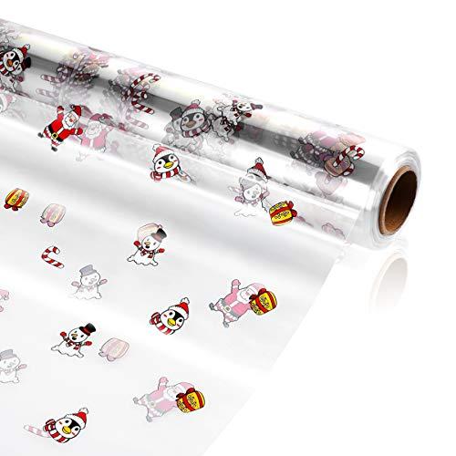 STOBOK Weihnachts Cellophan Wickelrolle, Transparente Zellophan Folie, Geschenkkörben für Süßigkeiten Snacks Partyartikel Geschenk oder Blumen, 30m x 80cm x 5 cm, 3 Mil