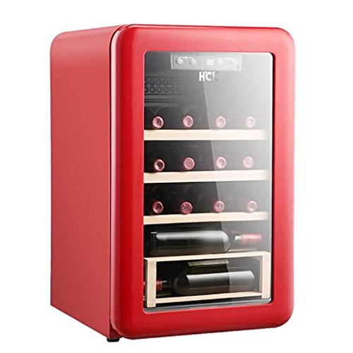 Refrigerador de vino vintage de 20 botellas, bodega de vino independiente controlada por temperatura, barra de hielo para el hogar pequeño, refrigerador refrigerado ( Color : Red , Size : 44*48*68cm )