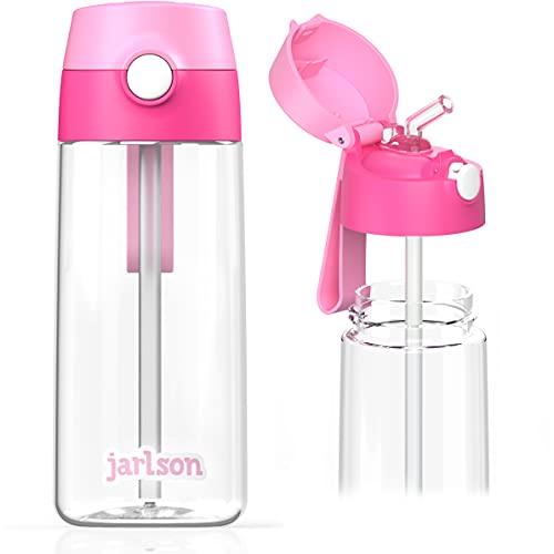 JARLSON Borraccia Bambini, Bottiglia 500 ml, Senza BPA, Bottiglia Acqua con Cannuccia, per la scuola e l'asilo, realizzato in plastica di alta qualità (rosa)