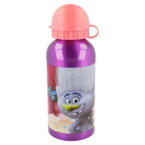 ALMACENESADAN 2201; Botella de Agua de Aluminio Trolls; Capacidad 400 ml