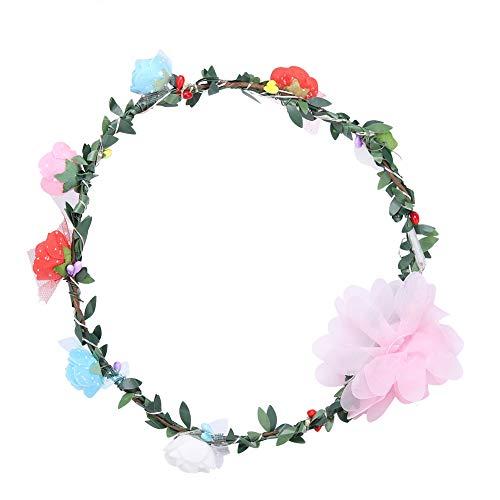 QiruIXinXi Corona de flores LED, guirnalda de pelo, flores de rosa, adecuado para usar en Navidad, festivales y viajes, decoracin de bodas para nias y mujeres (Colorfu)