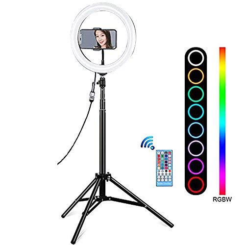 EcoGo 10 Pulgadas Aro de Luz con Tripode, Ring Light para Movil/Maquillaje/Fotografia/TIK Tok/Youtube, 8 Modos de Luz Regulables y 10 Brillos, con Control Remoto