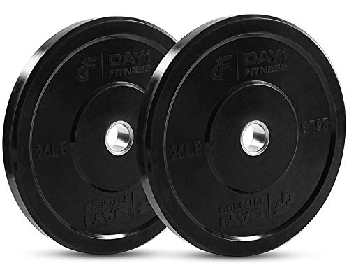 """DAY 1 FITNESS Olympic Bumper Weighted Plate 2"""" For Barbells, Bars - 25 lb Set of 2 Plates - Shock-Absorbing, Minimal Bounce Steel Weights with Bumpers for Lifting, Strength Training, and Working Out"""