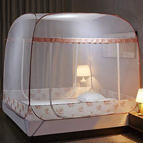 GYHONG Pop Up Moskitonetz Bett, Faltbares Bett-Moskitonetz Einfache Installation Feinmaschig Für Schlafzimmer Outdoor Camping Keine Chemikalien,Orange,120x200x170cm