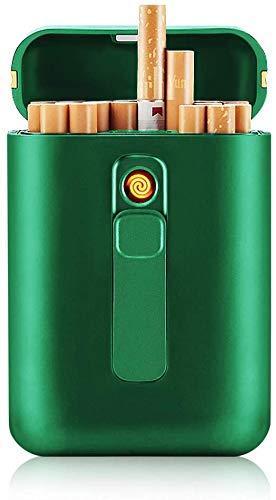 VIY Zigarettenetui mit Feuerzeug, Zigarettenbox, für 20 Stück Normale Zigaretten, Tragbar, King Size Zigaretten, USB Elektrisches Feuerzeug, Wiederaufladbar, Flammenlos, Winddicht,Grün