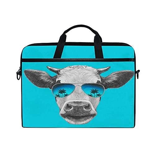 Bolsa para computadora portátil Patrón de Palmera de Vaca Linda Bolsa de Viaje para computadora portátil Bolsa de Mensajero de Hombro Funda para computadora portátil de 14 Pulgadas