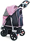qazxsw Pet Travel Stroller, Dog Strollers Cat Stroller Baby Carriage, Folding Cat Pushchair Trolley Puppy Jogger Carrier with Storage Basket, Max Loading 20kg (Color : B)