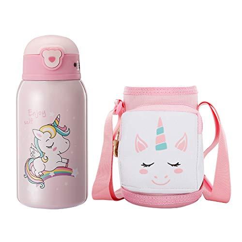 Botella de Agua Aislada al Vacío con Pajita para Niños Unicornio Frascos Térmicos Sin Bpa Termo Botella Personalizada para Infantil Acero Inoxidable Termo Taza Viaje, 500ML, Rosa