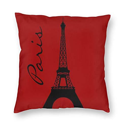 Meius - Funda de cojín con diseño de la Torre Eiffel de París, terciopelo rojo, suave, decorativa, cuadrada, funda de almohada para salón, sofá o dormitorio, con cremallera invisible de 20 x 20 pulgadas