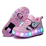 GGBLCS LED Zapatillas con Luces para Niños Niñas Automática Retráctiles Zapatos con 2 Ruedas Ajustables Skate Roller Deportivos Zapatos Carga USB Luminosas Flash Patines Sneaker,Rosado,32 EU