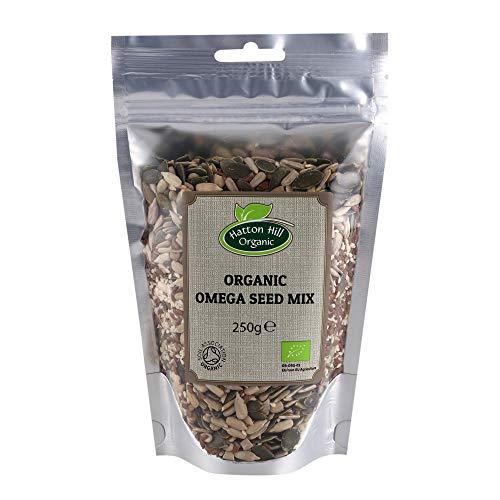 Mezcla de Semillas Omega Orgánica 300g de Hatton Hill Organic (semillas de girasol, semillas de calabaza, semillas de sésamo, semillas de lino marrón)