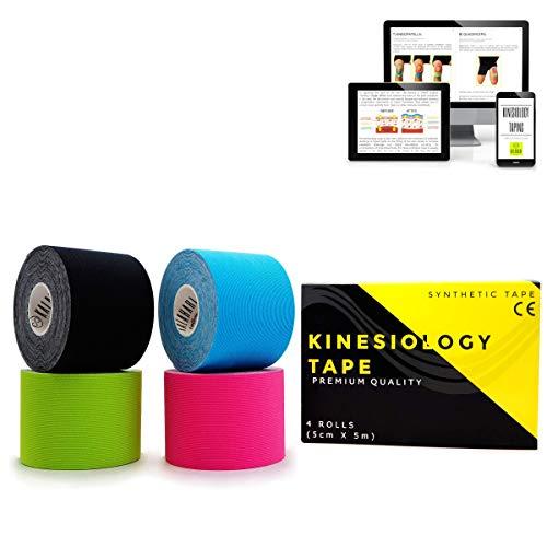 KALAHARI 4 rollos Cintas Kinesiologicas Profesional más e-Book manual aplicaciones en Español - Synthetic Kinesiology Tape para una mejor Adherencia y Resistencia al agua y al sudor - (5cm x 5m)