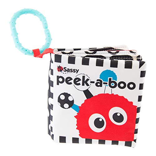 Sassy Peek-a-Boo Activity Book with Attachable Link for On-The-Go Travel | Black & White | for Ages...