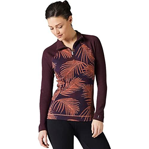 Smartwool Women's Merino 250 Pattern 1/4 Zip Long Sleeve Base Layer – Moisture-Wicking Merino Wool Top for Skiing, Hiking, Biking & Cold Weather Outdoor Activities - Sunset Coral Palm, S