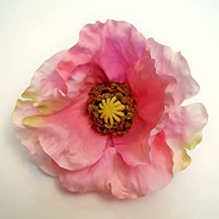 Large Poppy Artificial Flower Hair Clip/Pin Brooch, Pink