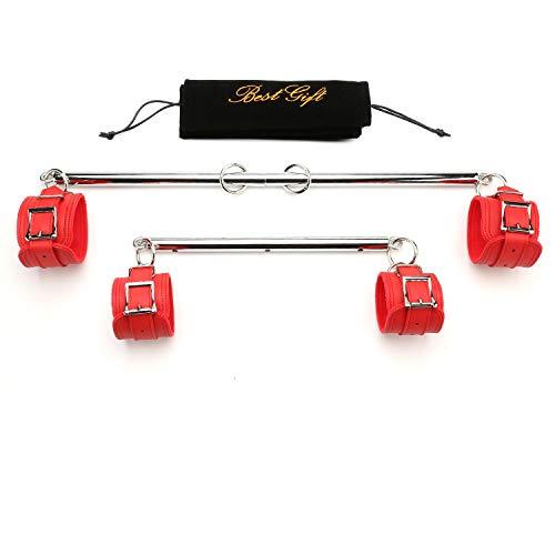 Sovyime Barra extensible plateada con 4 correas ajustables de piel, color rojo, para deportes y fitness, resistencia