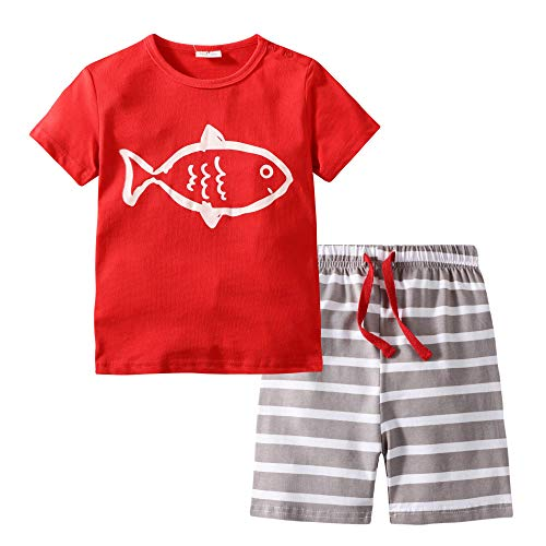 BIBNice Kids Boys Cotton Short Sleeve Set Fish Toddler Pajamas Sets Size 5