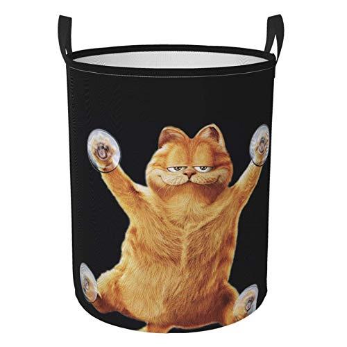 niushan Funny Garfield - Cesta de lavandería grande, impermeable, plegable, con asas, bolsa de almacenamiento redonda, para cuarto de baño/dormitorio/dormitorio