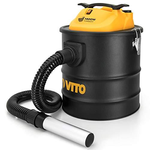 Easy Clean 1400W VITO 18L Aschesauger bis 50°, HEPA Filter mit Filterreinigungsfunktion - 1M Schlauch mit 200mm Aluminiumrohr, Kamin Staubsauger