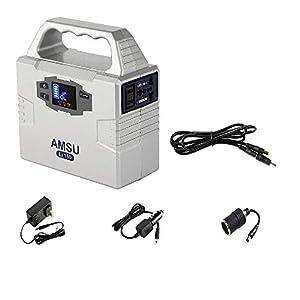 3.3lb 100W(Peak 200W) Portable Solar Generator (Power Inverter) - 40800mAh 150Wh Battery - Solar/AC/Car Charging Cable - 2 AC & 3 DC 12V & 2 USB Ports