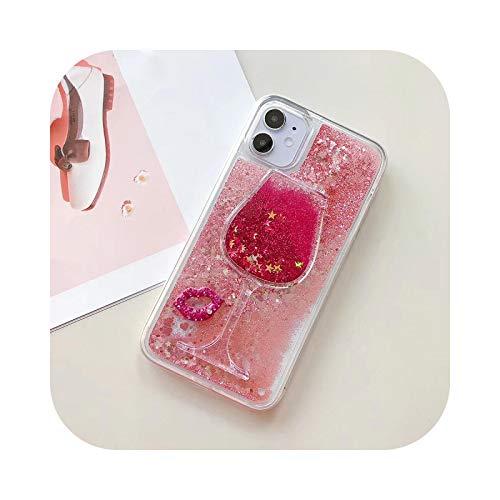Carcasa para iPhone 11, carcasa de silicona suave de lujo, brillante Quicksand Copa de vino Rojo para iPhone 11 Pro Max 7 8 Plus X XS XR Max regalo sexy-a-for iPhone 11