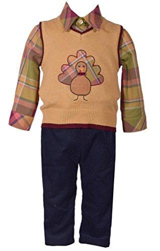 Bonnie Jean 3 Piece Sweater Vest with Thanksgiving Turkey Applique Shirt and Pants Set 12 Months