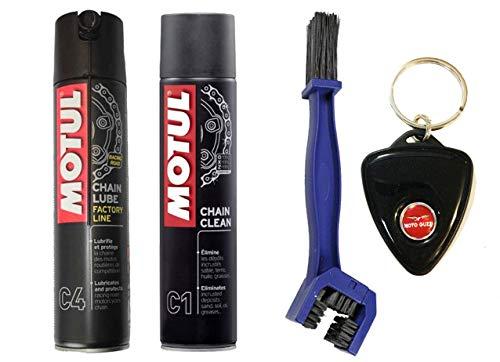 Kit de limpieza lubricante de cadena Motul C4 + C1 + cepillo con llavero Moto Guzzi de regalo