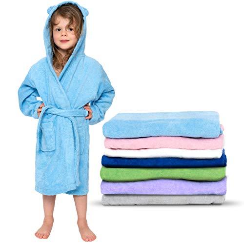 Twinzen - Accappatoio Bambini Cotone : Ragazzo e Ragazza - 100% Cotone OEKO-TEX® Senza Prodotti Chimici - 2 Tasche, Cintura, Cappuccio con Orecchie