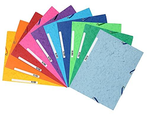 Exacompta 55510E 10er Pack Premium Einschlagmappe. Aus extra starkem Colorspan-Karton mit 3 Innenklappen und 2 Gummizügen DIN A4 farbig sortiert Sammelmappe Dokumentenmappe für Büro und Schule