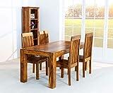 AISER Interieur Massiver Echt-Holz Palisander Esstisch -Salerno- 175 x 90 cm aus besonders schön gezeichnetem Sheesham-Holz in modernem zeitlosen Design