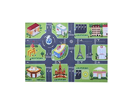 3D-Bodenspielmatte, Puzzlespielmatten für Kinder, Baby-Krabbelsimulation Stadtplan Bodenmatte Kristall-Samt-Stichsäge-Teppich Ungiftig Wasserdicht Schlafzimmer Wohnzimmer Bodendekoration, 100X150CM
