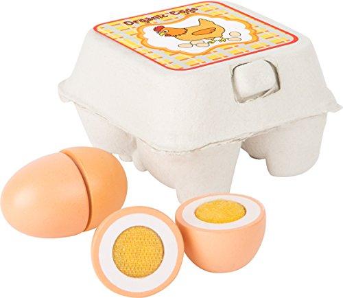 Small Foot 10591 Holz-Eier als ideales Zubehör zum Kaufmannsladen in originalgetreuer Eierpappe, sowie Klettverbindung um das Ei aufzuschneiden