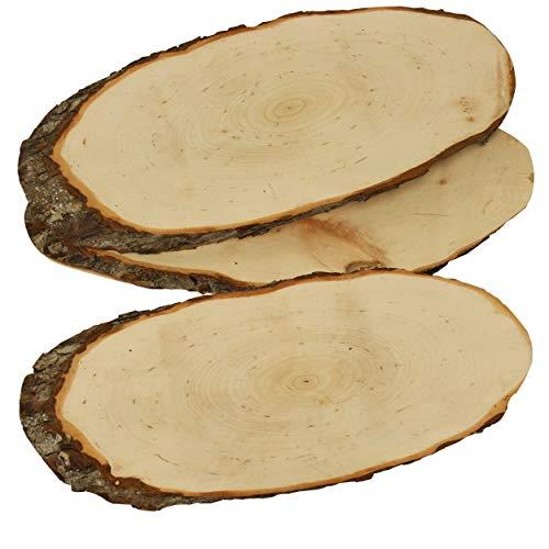 trendmarkt24 Rindenscheiben oval 3 Stück Holzscheiben 32-38 cm lang | Erlenholz Baumscheiben 13-16cm breit | große Holzscheiben mit Rinde Rindenscheiben beidseitig geschliffen |