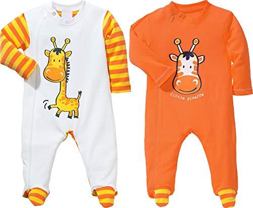 Erwin Müller Baby-Schlafanzug 2er-Pack mit Druckmotiv Interlock-Jersey Mandarine Größe 74/80