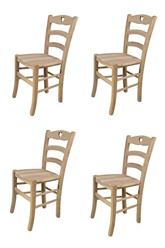 Tommychairs - Set 4 sillas Cuore para cocina y comedor, estructura en madera de haya lijada, no tratada, 100% natural y asiento en madera