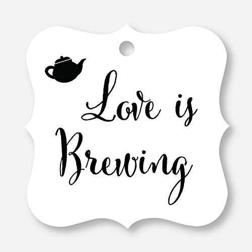 24 ct Love Is Brewing Wedding Favor Tags, Beer, Teapot, Coffee Cup (FS-096-BW)