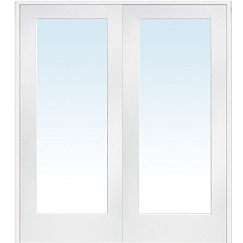 National Door Company ZZ09302BA Primed MDF 1 Lite Clear Glass, Prehung Interior Double Door, 72