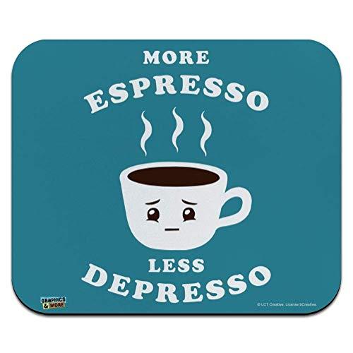 Mehr Espresso Weniger Depresso Depression Kaffee Lustiger Humor Laptop/Pc Maus Pad Rutschfestem Maus Mat Ultradünner Mauspad Für Office,Geschenk,Gaming,25X30Cm