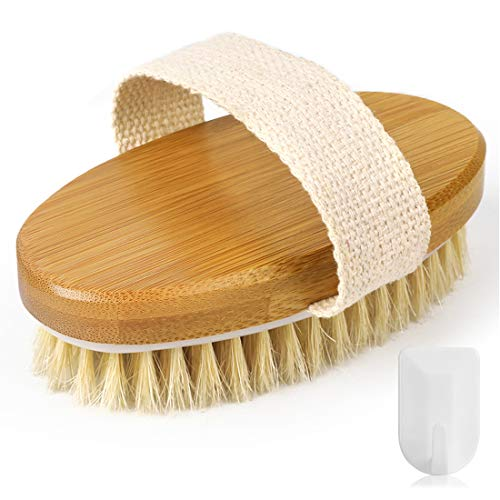 Dry Brushing Body Brush, Exfoliating Brush with Wall Hook-Shower Bath Brushes with 100% Natural Boar Bristles for Flawless Skin-Suitable for Men & Women