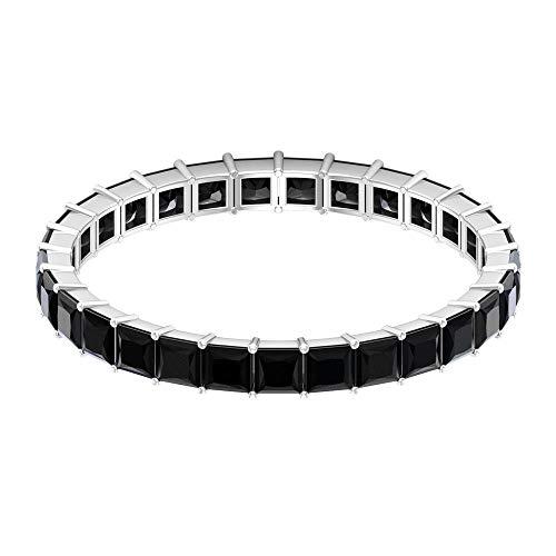 Anillo completo de eternidad, anillo de corte princesa, anillo de ónix negro de 1,4 quilates, anillo de piedra negra, anillo de boda nupcial, 14K Oro blanco, ónix negro, Size:US 48