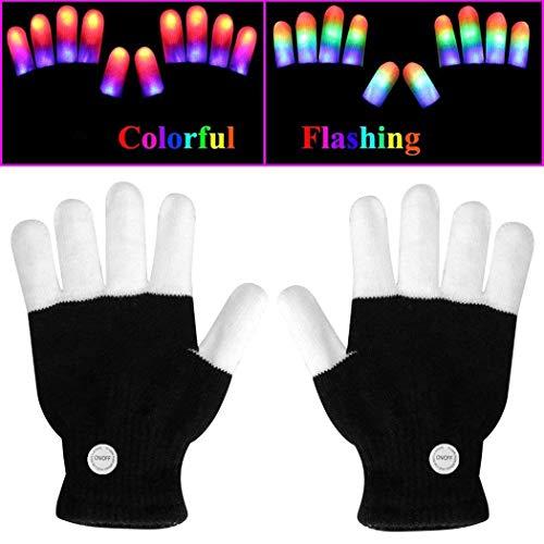 Iiloens Kreative Bunte LED leuchtende blinkende Vollfinger-Handschuhe Ausstattungen